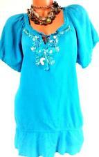 U* Fashion bug deep sky blue crinkle tie up ribbon detail short sleeve top 1X