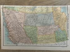1898 WESTERN CANADA ANTIQUE COLOUR MAP BY JOHN BARTHOLOMEW 122 YEARS OLD