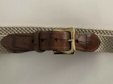 MADE BY HAND IN AMERICA Mens Leather Tab Braided Cord Brass Buckle Belt Size 36