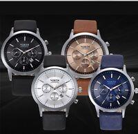 Latest Men's Luxury Date Display Leather Quartz Wrist Watch