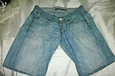 """'Miss Sixty' Faded/Distressed Denim Shorts, Length 9.5""""/Waistband 32""""/Size 29"""