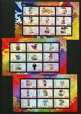 Rwanda Disney Characters & Mushrooms Imperforate Set Of 3 Sheets Of 9 Mint Nh