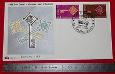 ENVELOPPE 1er JOUR PHILATELIE 1968 CONSEIL DE L'EUROPE FOND GRIS ARGENT