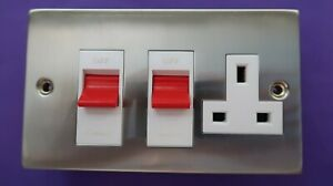 CED  Brushed/Satin Chrome 45 Amp Cooker Switch with Socket