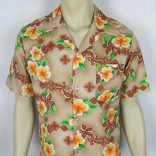 VTG Pomare Hawaii Hawaiian shirt button front Aloha Floral Tan Mens Size M