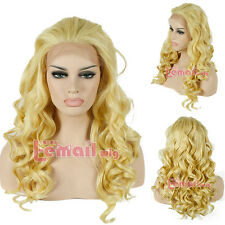 Women's Fashion Yellow Long Wave Curly Heat Resistant Lace Front Wig USA Ship