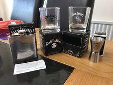 JACK DANIELS XMAS SET 2 X OLD NO7  GLASSES 1 X150th MEASURE & 1 X 6oz HIP FLASK