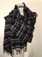 Paul Smith Women Scarf Made In England Border Check Navy Wool