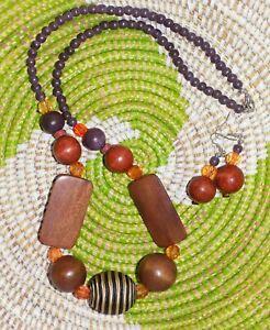 Bright Tropical Necklace & Earrings Set boho hippie retro African beach jsp464