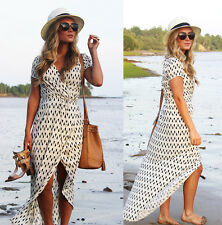 Women Split Maxi Long BOHO Wrap Tunic Evening Party Beach Dress Print Plus Size