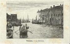 Stampa antica VENEZIA Canale della Giudecca gondole 1891 Old Print VENICE