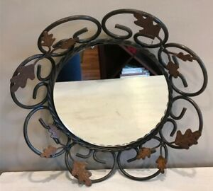 "Round Hanging Metal Ivy Vine Mirror 13"" Diameter"