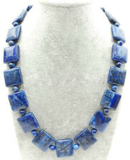AAA+ 6mm&12mm Natural Blue Lapis Lazuli Gemstone Square Beads Necklace 18''