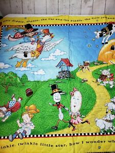 """Mary Engelbreit - Unfinished Quilted Nursery Rhyme Fabric Panel Quilt 45"""" X 35"""""""
