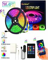 16.4ft Flexible 5050 RGB LED SMD Strip Light Remote Fairy Light Room TV Party