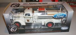 1941 Pumper Firetruck Ford White 1/16 Highway 61 New Diecast Never Out Of Box.