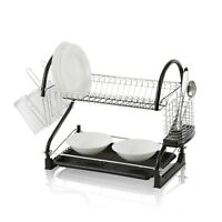Stylish Dish Drying Rack 2-Tier Dish Drainer with Drainboard/Cutlery Cup