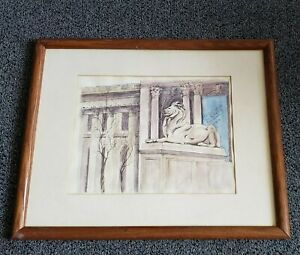 New York Public Library ART Drawing Painting Vintage Framed