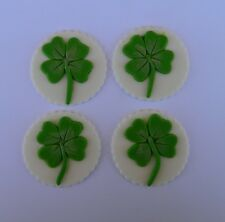 12 edible LUCKY 4 LEAF CLOVER cake CUPCAKE topper DECORATION st patrick day LUCK