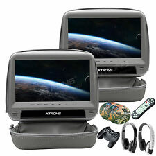 "Gray Car Headrest DVD Player 9""Touch Screen Monitors HDMI+Kids Games+Headphones"