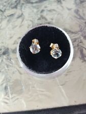 Aquamarine Round Cut And Diamond Stud Earrings 10kt Solid Yellow Gold
