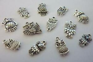 16 pce Small Metal Silver Tone Owl Charms 15mm to 22mm Jewellery Making Craft