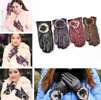 Women Girls Winter Soft Leather Mitten Gloves Warm Driving Gift fashion