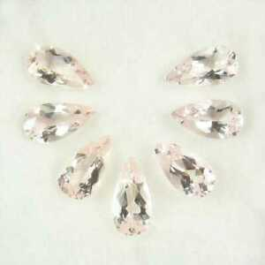 11.61 Ct Natural 7 Piece Morganite Light Pink Matching Pear Necklace Set Tested