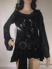Costume Gallery Large Blouse Solid Black Sequined Sexy Halloween Theatrical Top