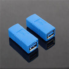 2x USB 3.0 Type A Female to Female Connector Adapter Coupler Gender Changer Blue