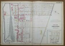 ORIGINAL 1905 32x22 City of Trenton NJ Atlas Colored Map Pennsylvania RR Yards