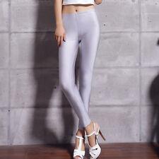 Women Sexy Thin Shiny Disco Dance Leggings Fluorescent Stretchy Pants Clubwear