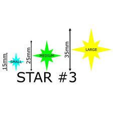 Star Vinyl Stickers 15-35mm Self Adhesive Peel & Stick Wedding Glass Craft 300 Large - 80 Star#3 Aqua Green