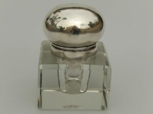 Swedish Glass and Silver Inkwell 1909 .830 Silver