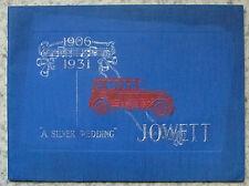 """Jowett """"NOZZE D'ARGENTO"""" 1906-1931 le vendite di automobili OPUSCOLO PUBBLICITARIO LUNGO CORTO +"""