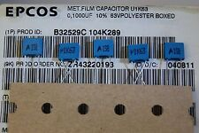 250pcs 100nf 63v capacitor polyester R5.0mm B32529C104K289  EPCOS ROHS