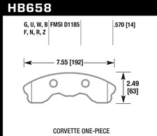 Hawk Disc Brake Pad Front for 2010-2013 Chevrolet  Corvette / HB658F.570