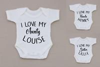PERSONALISED unisex baby clothing vest babygrow baby shower, I love Aunty, Uncle
