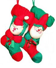 Vintage Santa Christmas Stockings Red Green His Hers Mr Mrs Claus 3D New