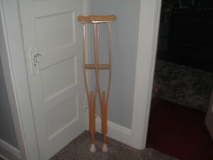 Vintage Wooden Crutches Adjustable Height Adult Wood