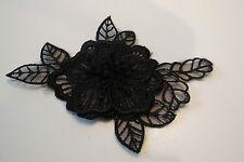 Pequeño Doble Capa Negro Encaje Floral encaje y apliques/Decorativo Motif 11x6.5cm