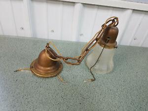 Antique 1900s Vintage Brass Pendant Hanging Ceiling Light Fixture
