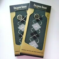 Vintage Esquire Boxed Argyle Socks Men's 10-14 Two Pairs NOS
