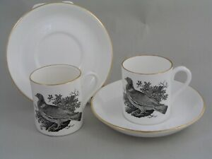 TWO CROWN STAFFORDSHIRE THOMAS BERWICK RING DOVE COFFEE CUPS/CANS AND SAUCERS.