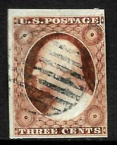 Sc #10/11 3 Big Margins Shades Grid Cancel 3 Cent Washington 1851-671 US 8A71