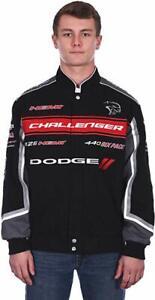 """Men's Dodge Challenger Jacket Collage Logo Black Twill Jacket by JH Design """"SALE"""