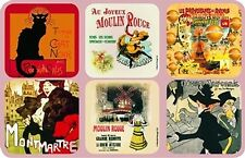 Set of 6 New Cork Back Coasters Paris Scenes Chat Noir Mont Martre Eiffel Tower