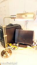 "Used Brass Tones Lamp, Lamp & Shade Swivels 360 degrees, 26""h x 7.5"" dia base"