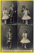 """cpa Spectacle Cirque CLOWN ACROBATES Artiste """" AMONUS & Cie """" Tramp and Baby"""