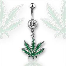 14g Pot Leaf  Belly Button Navel Ring With Clear CZ Gem  Green Weed Marijuana